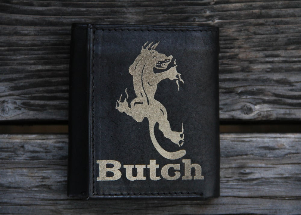 Image of  Personalized Tri-fold Leather Wallet - Panther