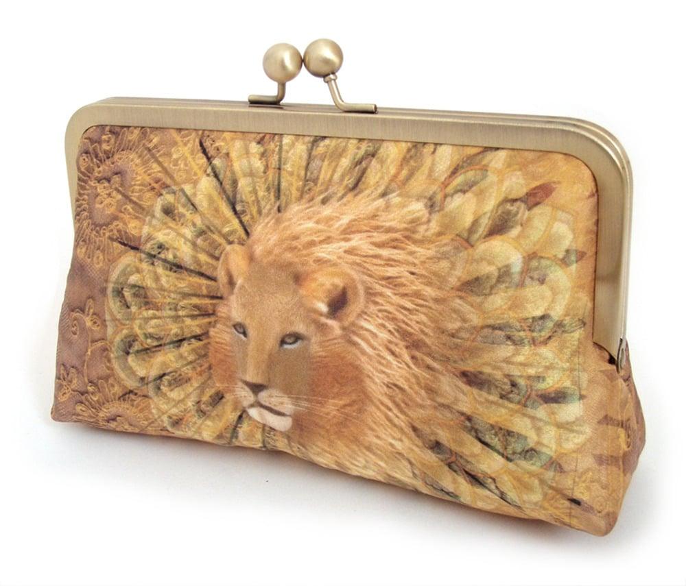 Image of Golden lion original silk clutch bag, gold orange purse
