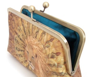 Image of Gold lion silk clutch bag