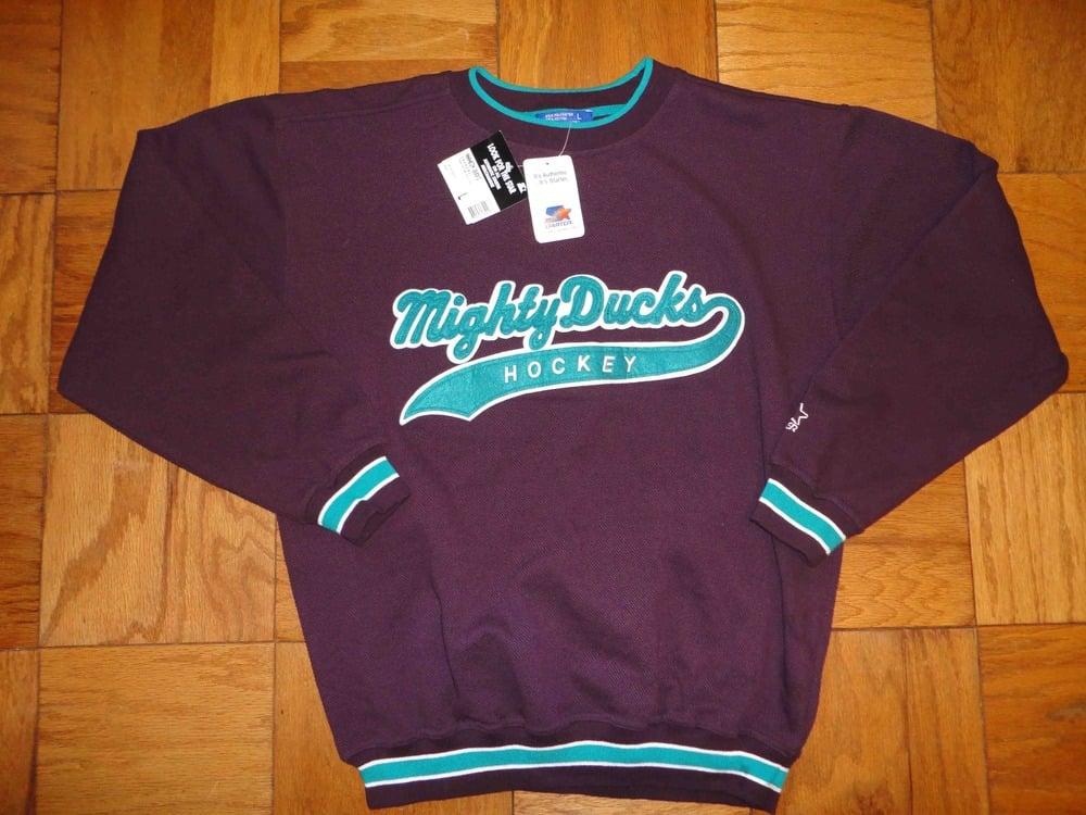 Image of Vintage deadstock Anaheim Mighty Ducks Starter Script Crewneck Sweatshirt Jumper