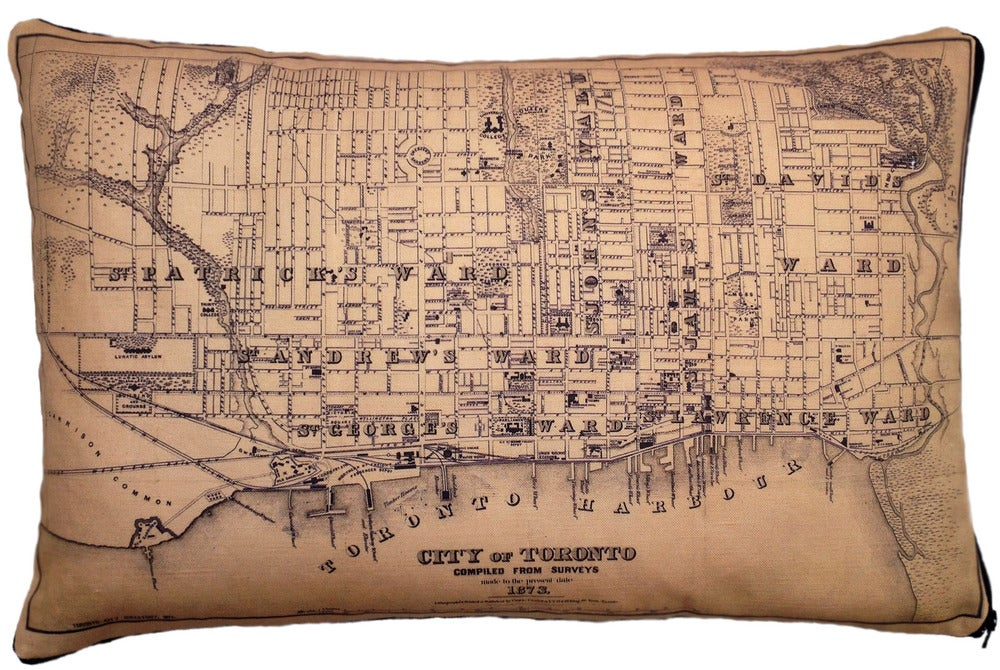 Image of City of Toronto Vintage Map Pillow