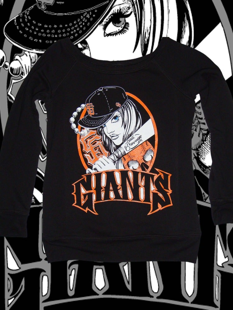 Image of Ladies - SF Giants Bat Girls (Off the Shoulder Sweater)