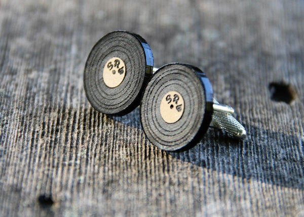 Image of Personalized Vinyl Record LP Cufflinks - Acrylic