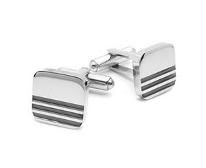 Image of Executive Cuff Links Three Black Stripes