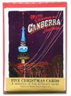 Five pack of Canberra at night Christmas cards