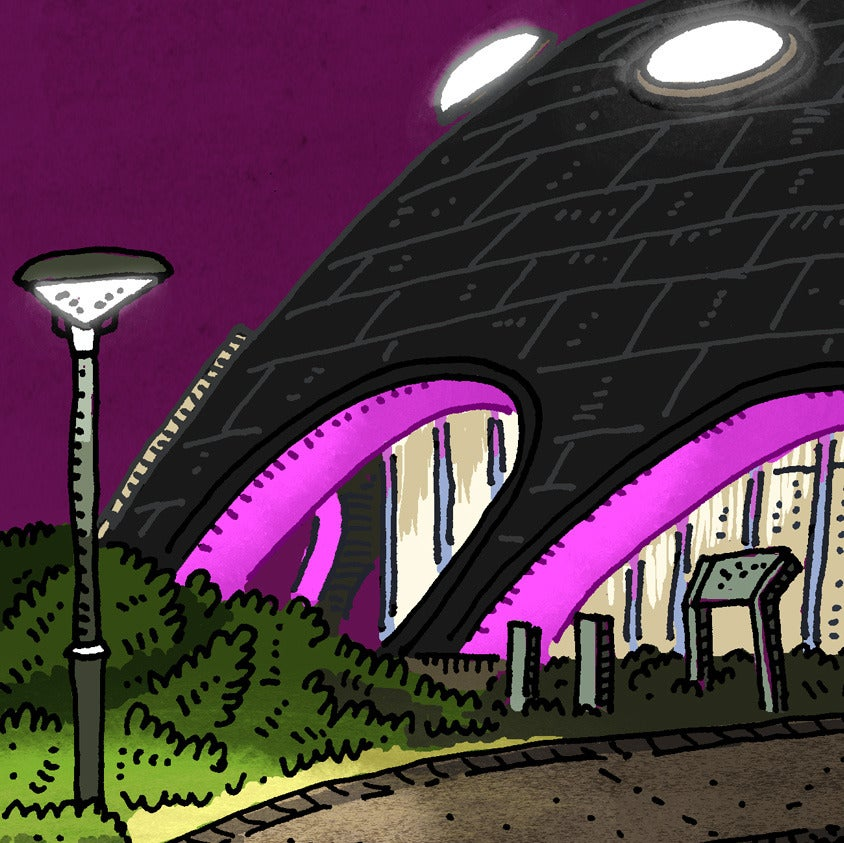 Image of The Martian Embassy at night Limited Edition Digital Print