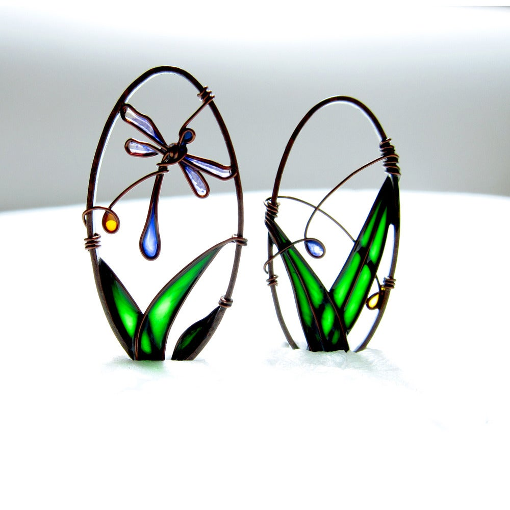 Image of Blue Dragonfly Earrings