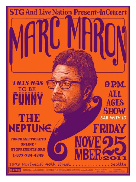 Image of Marc Maron at the Neptune. Seattle. 2011.