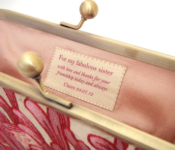 Custom hand-stitched silk label for your Red Ruby Rose clutch - Red Ruby Rose