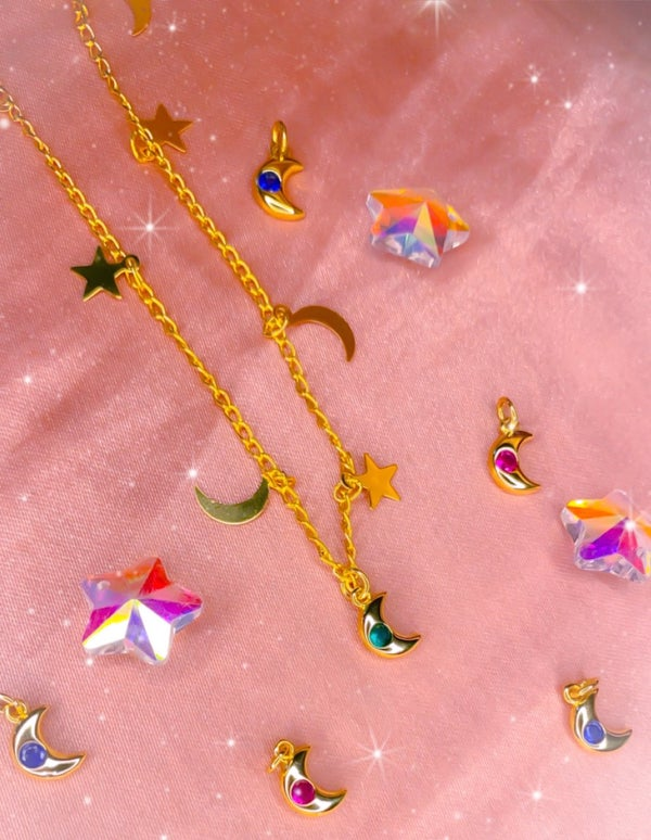 Image of dainty moon and star necklace