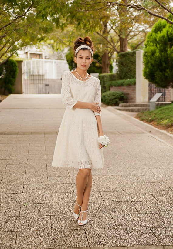 Casual Wedding Dress.Cotton Lace Casual Wedding Dress Made To Order