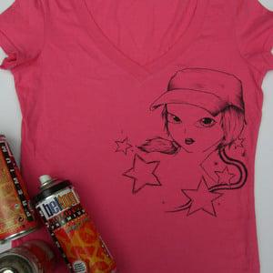 Image of pink v-neck girls lil tshirt