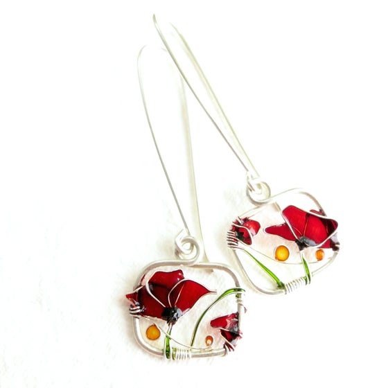 Image of Red Poppies Silver Earrings