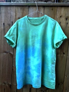 Image of Blue and Green Tie Dye Short Sleeved T-Shirt
