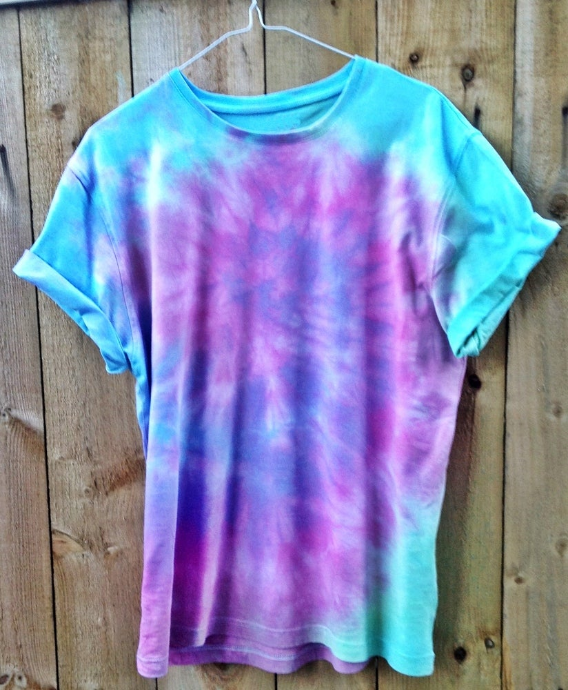 53538a788cce5 Swirl Blue, Pink, Purple and Green Tie Dye Short Sleeved Tee