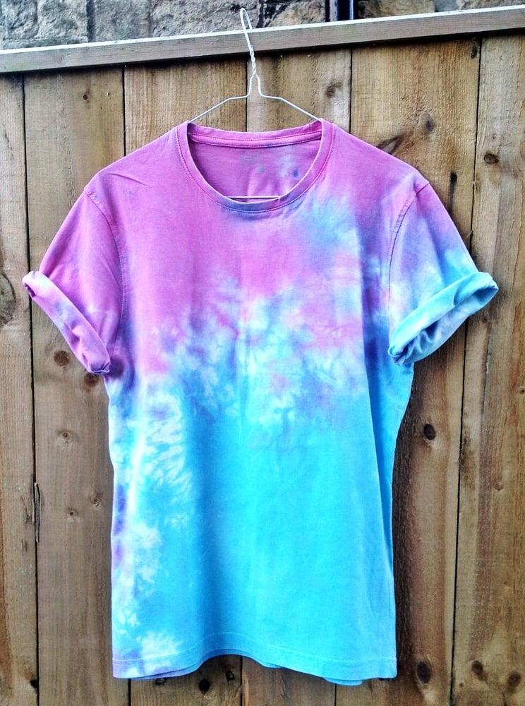 Fabulous Wonderland Apparel — Blue and Pink Dip Dye/Tie Dye Tee SL32