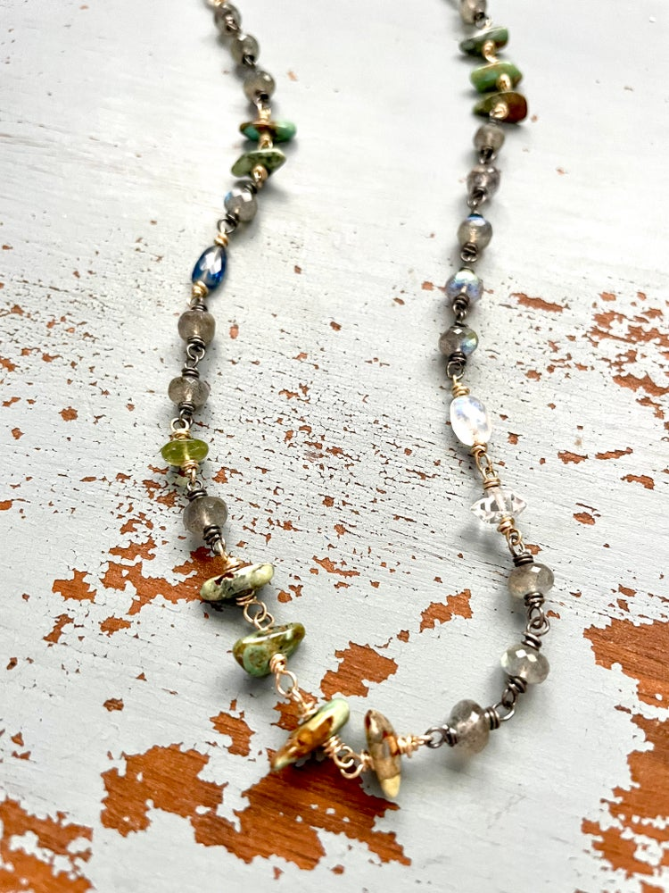 Image of labradorite and moonstone necklace in sterling silver and 10k gold