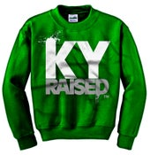 Image of Ky Raised Crewneck Sweatshirt in Green / White / Grey