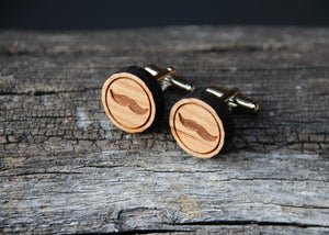 Image of Wood Mustache Cufflinks