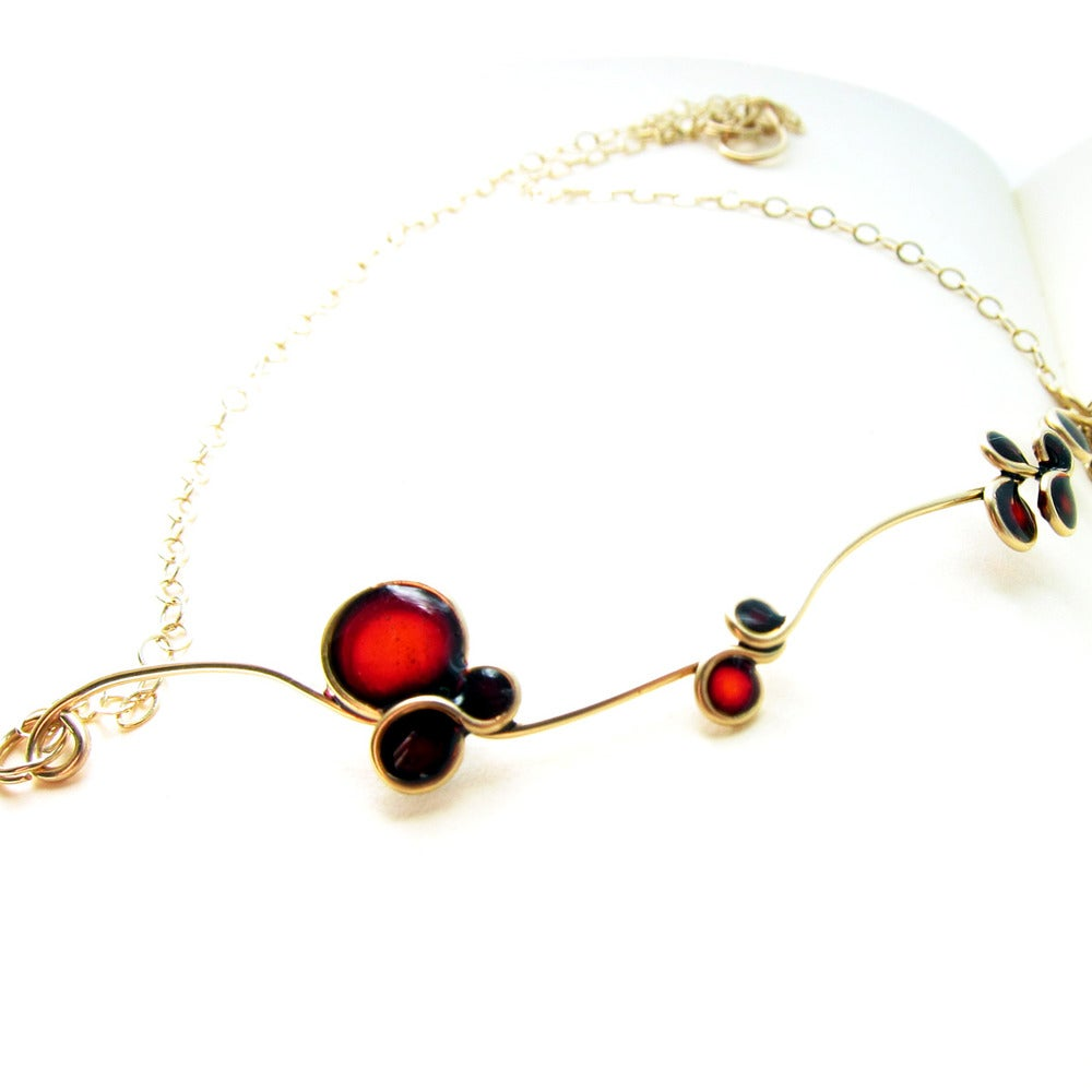 Image of Red Flowers Gold Filled Necklace