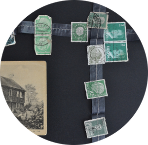 Image of vintage postage stamp garland.