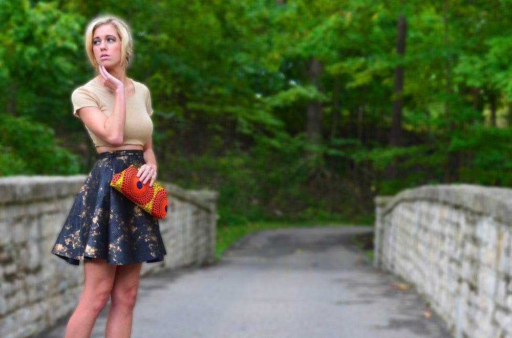 Image of Vegan leather skater skirt
