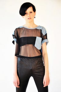 Image of Denim Mesh Top