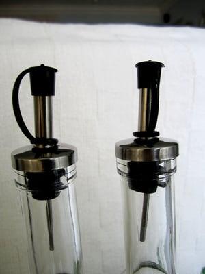 glass condiments bottle