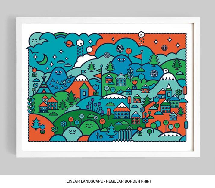 Image of Linear Landscape (Colour Option No.1) Giclée print on 310gsm Somerset Velvet Paper - SOLD OUT