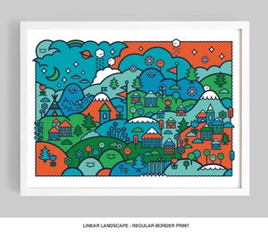 Image of Linear Landscape (Colour Option No.1) Giclée print on 310gsm Somerset Velvet Paper