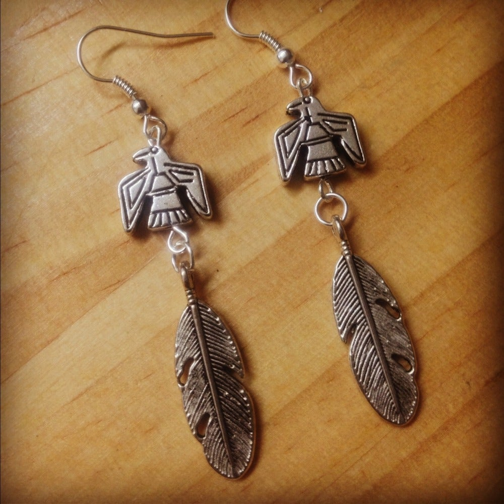 Image of Thunderbird feather earrings