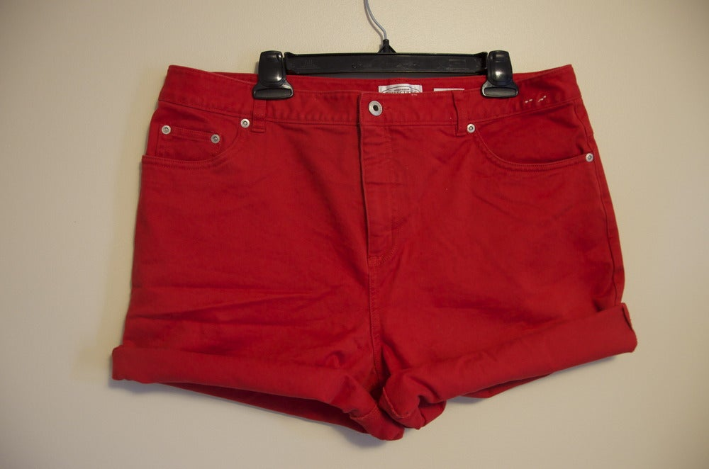 Image of Red Denim Shorts
