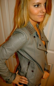 Image of Topshop Brand New Grey Leather Jacket with Studded Collar Detail
