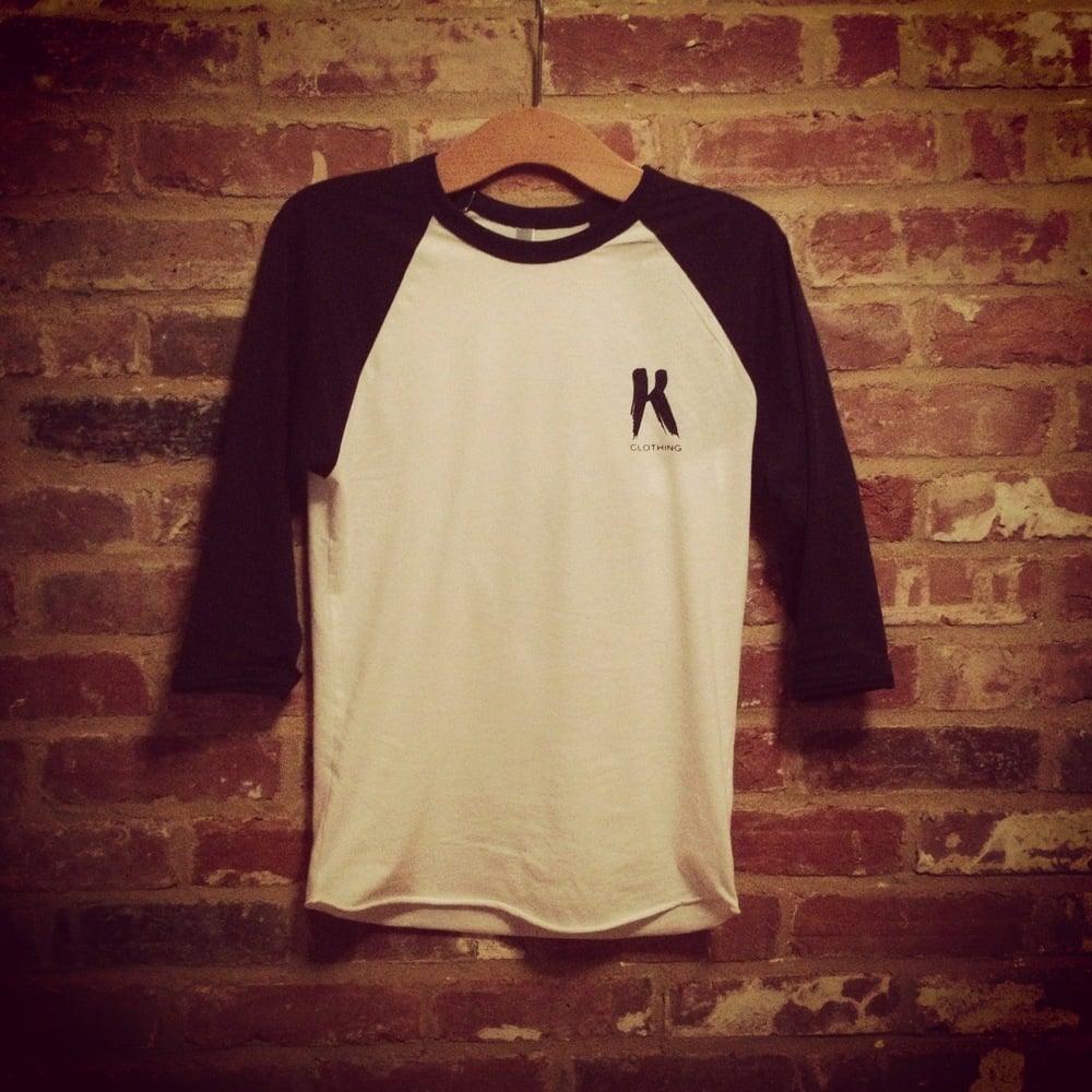 Image of K Clothing Print Navy/White Baseball 3/4 length.