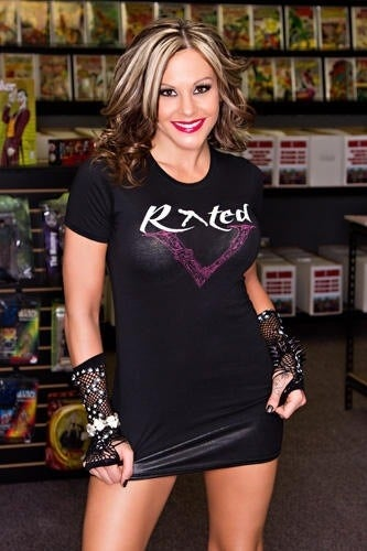 "Image of Ladies ""Rated V Logo"" Baby Doll Shirt"