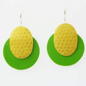 Image of earhanger, melamin and rolled gold, bright green