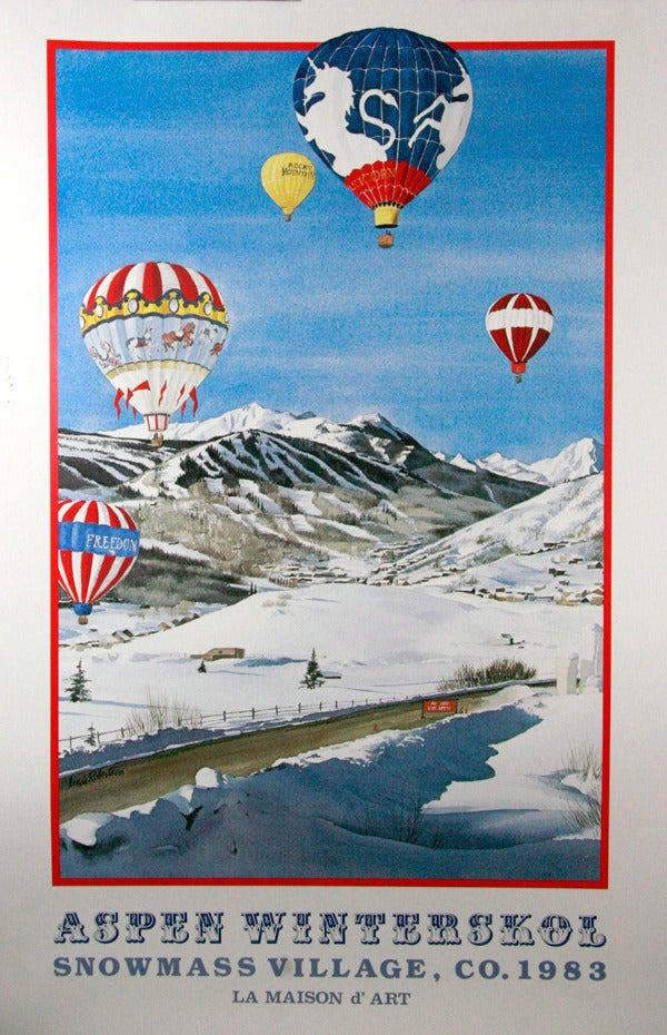Image of 1983 Aspen Snowmass Winterskol Balloons Vintage Poster