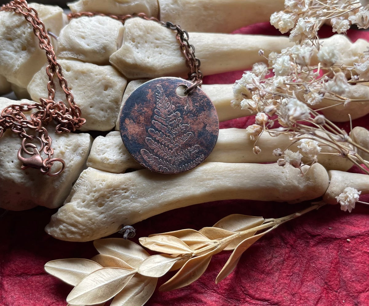 Image of Dark Copper Etched Fern Pendant