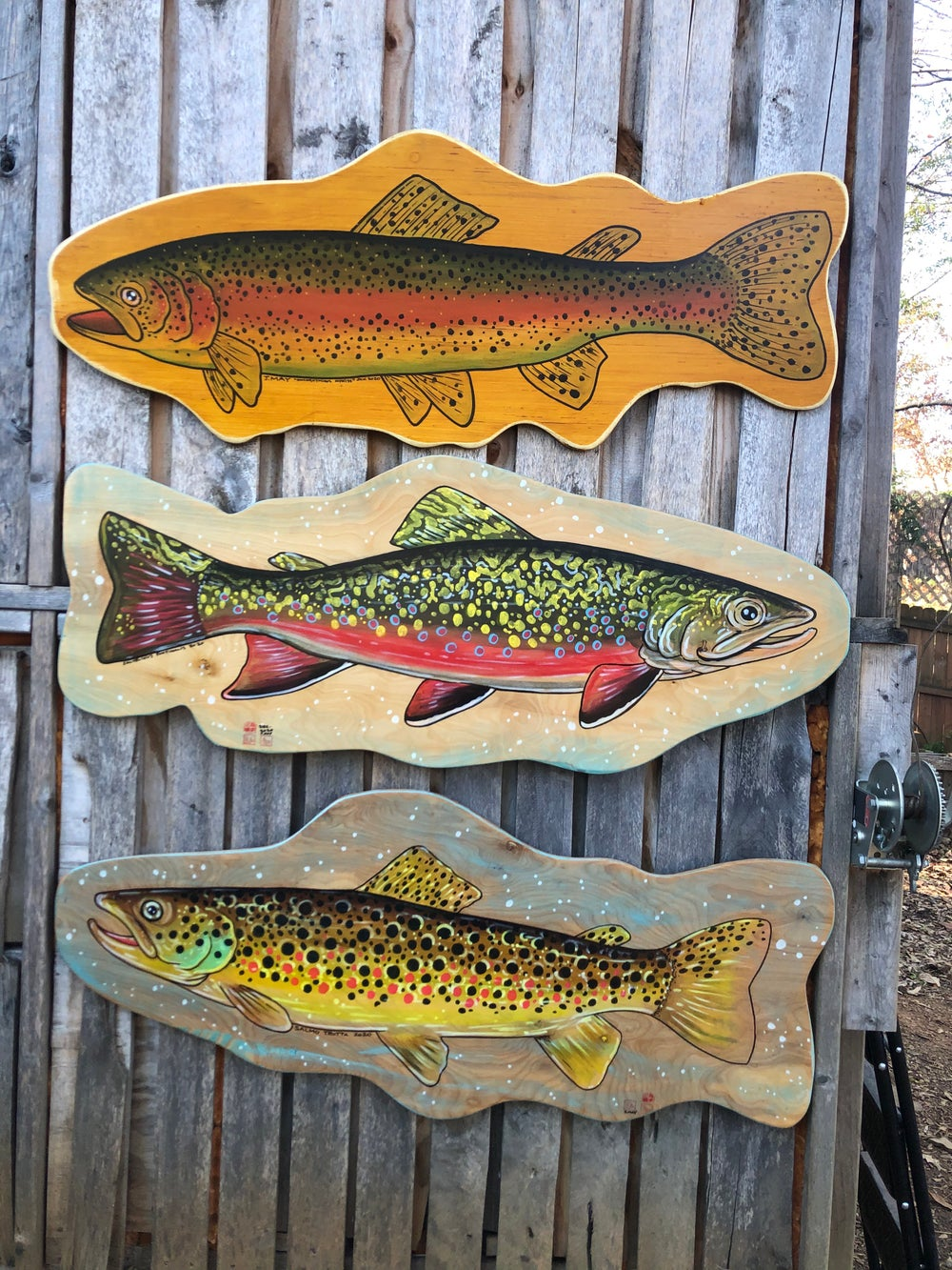"""""""Longbow"""" Rainbow Trout Painting on Reclaimed Wood"""