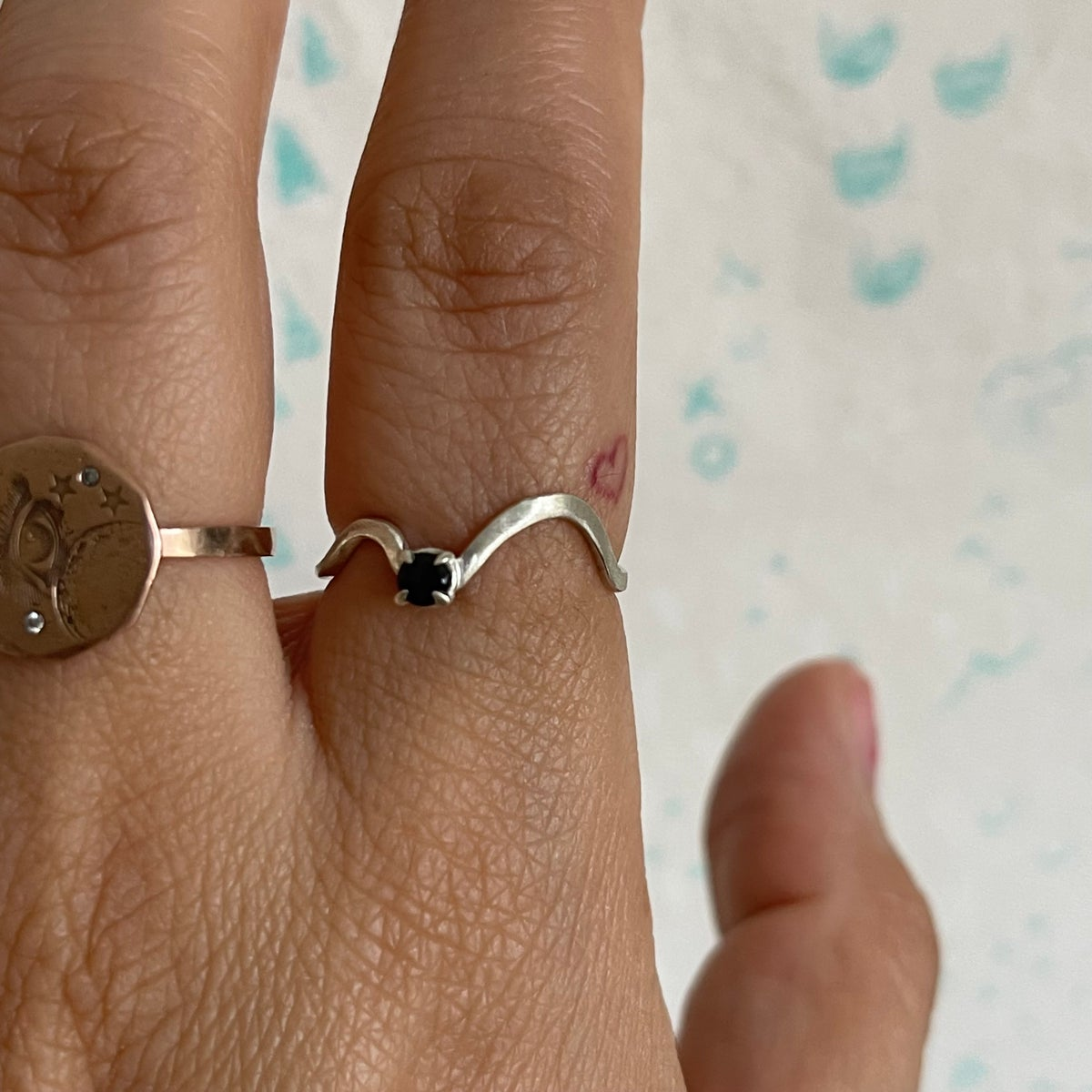 Image of blue two waves ring