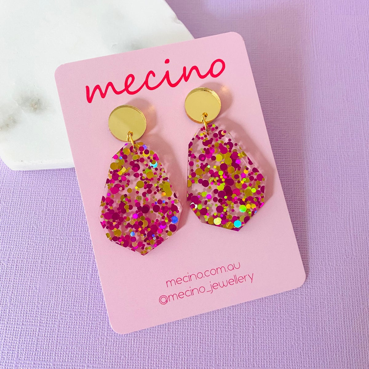 Image of Geo Party Drops - Pink / Gold Mix