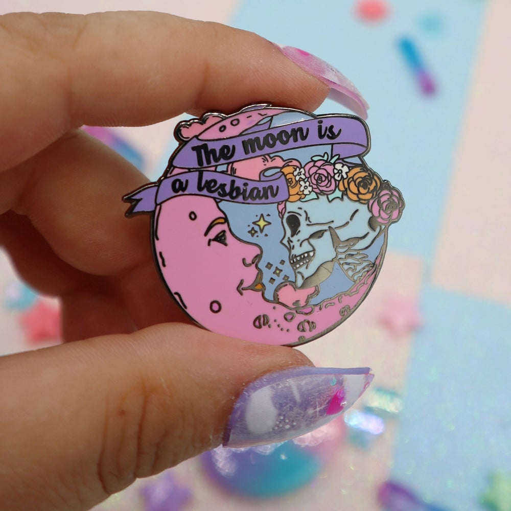 Image of The Moon Is A Lesbian Enamel Pin