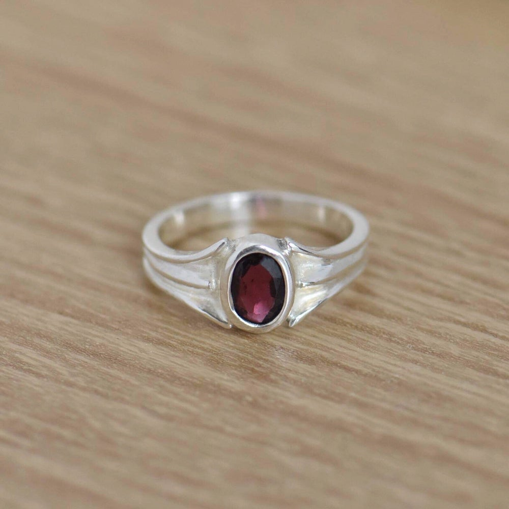 Image of Red Tulip x Red Garnet oval cut silver ring