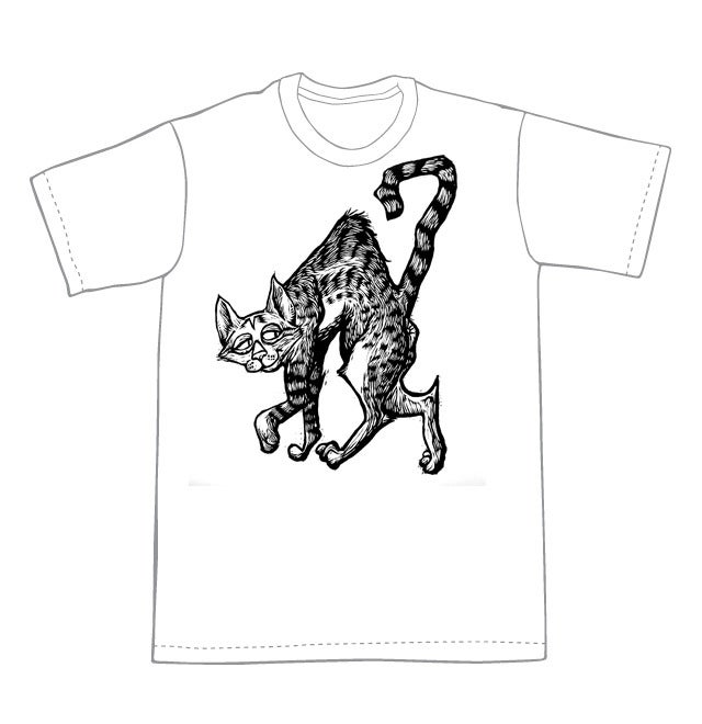 Naughty Cat T-Shirt (A1) **FREE SHIPPING**