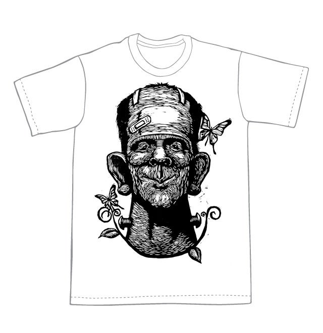 Frankenstein with butterflies T-Shirt (B1) **FREE SHIPPING**