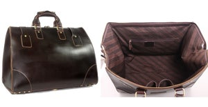 Image of Vintage Large Handmade Superior Leather Travel Bag / Tote / Luggage / Duffle Bag (n91)