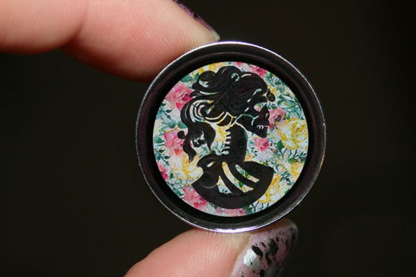 "Image of Floral Lady Skull Silhouette Plugs (sizes 2g-2"")"