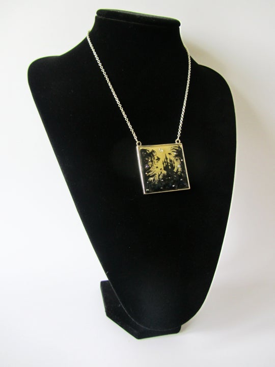 Forest Macabre Large Square Silver Pendant