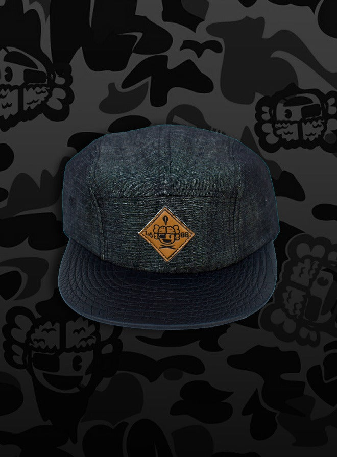 Image of 'Leonardo' - 3 K.N.G.'s Black/Croc Chambray 5-Panel Cap