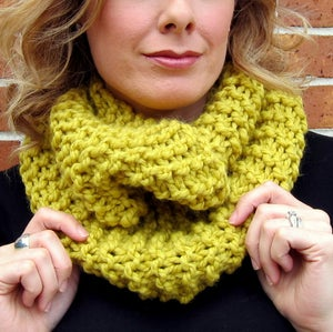 Image of Mustard, Hand Knit Infinity Scarf